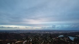 Bird's Eye: Blanket of clouds & City Lights Overtaking L.A.