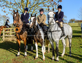 Rebecca Vernon, Lady Alice Manners, Lady Violet Manners at the meet. The Belvoir Hunt at Debdale Farm 10/11