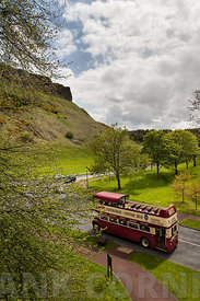 Tour bus in Holyrood Park
