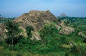 Rocky scenery where Nyero rock paintings are found in 3 shelters, near Kumi, Uganda