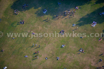 Aerial view of people in Greenwich Park, London