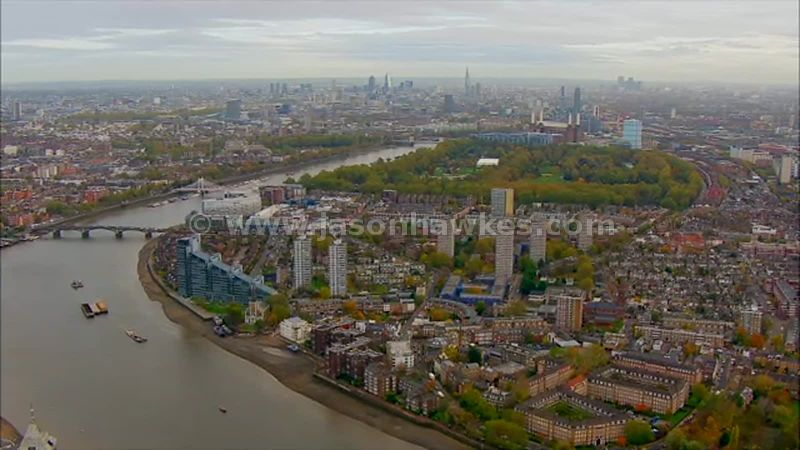 Aerial footage of Battersea, London