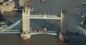 London Aerial Footage of Tower Bridge close up.