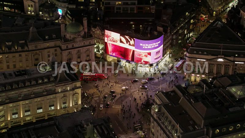 Night aerial footage of Piccadilly Circus, London