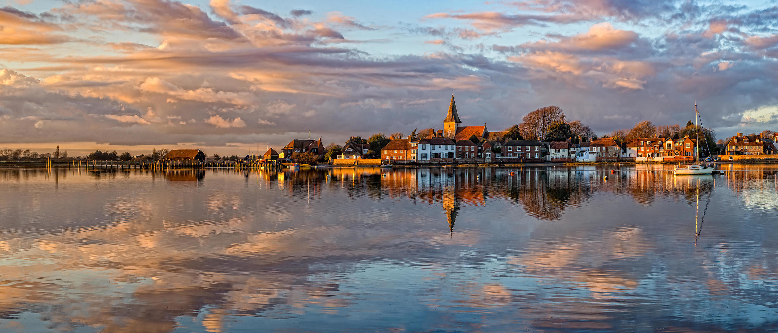 Bosham Harbour at Sunset with Golden Reflection