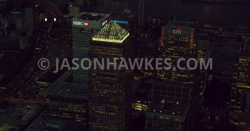 London Aerial Footage of Canary Wharf.