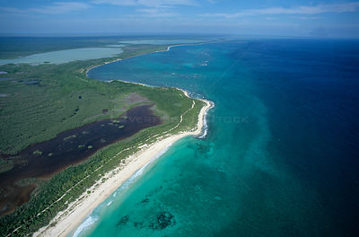 Aerial view of coastal lagoon and barrier reef, Sian Ka'an Biosphere Reserve, Caribbean Sea, Mesoamerican Reef System, Mexico...