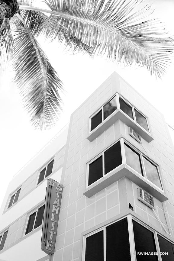 ART DECO ARCHITECTURE MIAMI BEACH FLORIDA BLACK AND WHITE