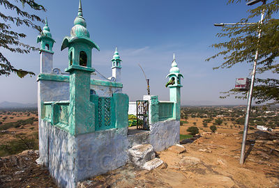 Muslim gravesite on a hilltop near Kaklana village, Rajasthan, India