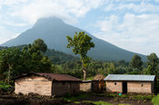 Homesteads at the base of Volcano Mount Mikeno, Virunga National Park, DR Congo