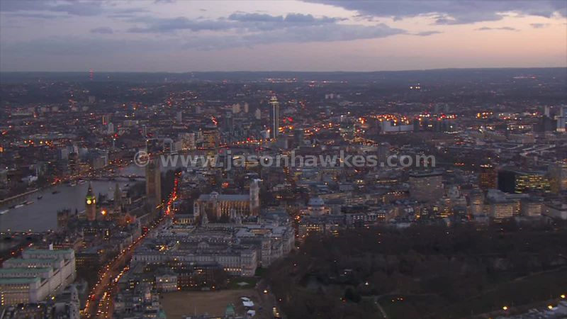 Aerial footage of Westminster at dusk, London