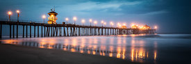 Huntington Beach Pier Stormy Night Panorama