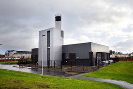 The energy Centre at the Commonwealth Games Village in the east end of Glasgow..Also pictured is the information and sales ce...