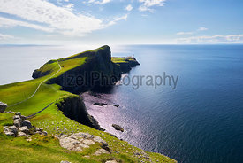 Views of Neist point and it's lighthouse near Dunvegan on the Isle of Skye, Scottish Highlands, Scotland, UK.