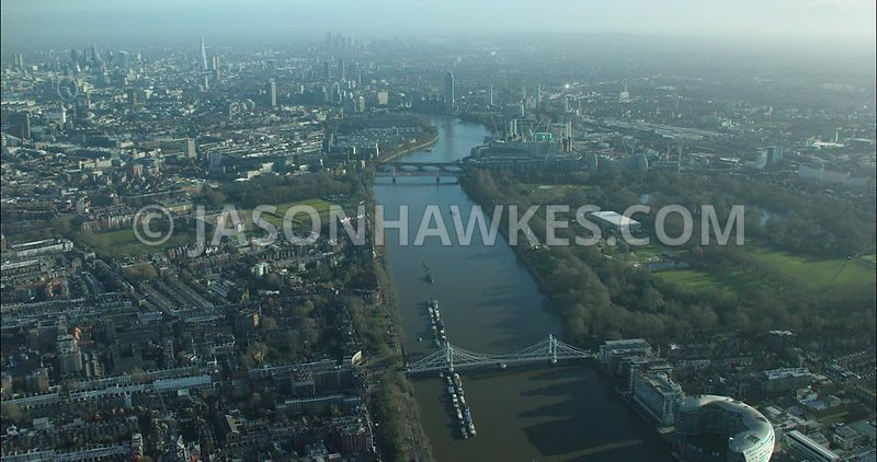 London Aerial footage, Battersea Park with Chelsea Embankment.
