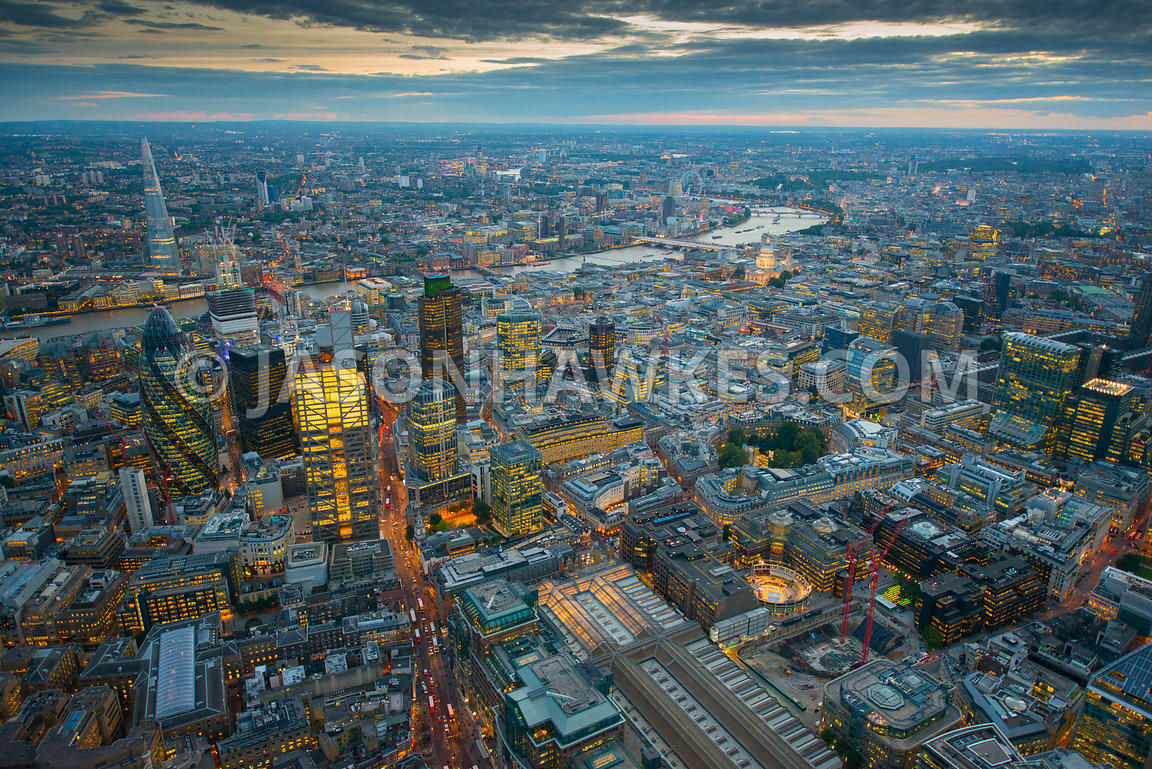 Dusk aerial view of the City of London