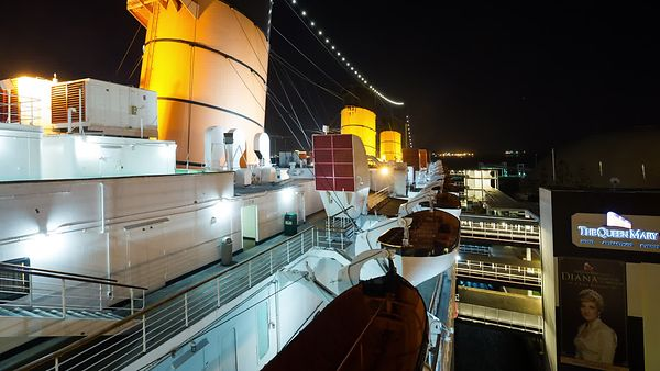 Wide Shot: Looking Down the Port Side of The Queen Mary at Night