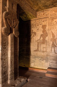 Abu Simbel, pillars in the hypostyle hall in the 2nd temple are decorated with goddess Hathor, Egypt
