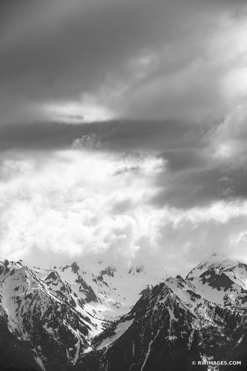 OLYMPIC MOUNTAINS HURRICANE RIDGE OLYMPIC NATIONAL PARK WASHINGTON BLACK AND WHITE VERTICAL