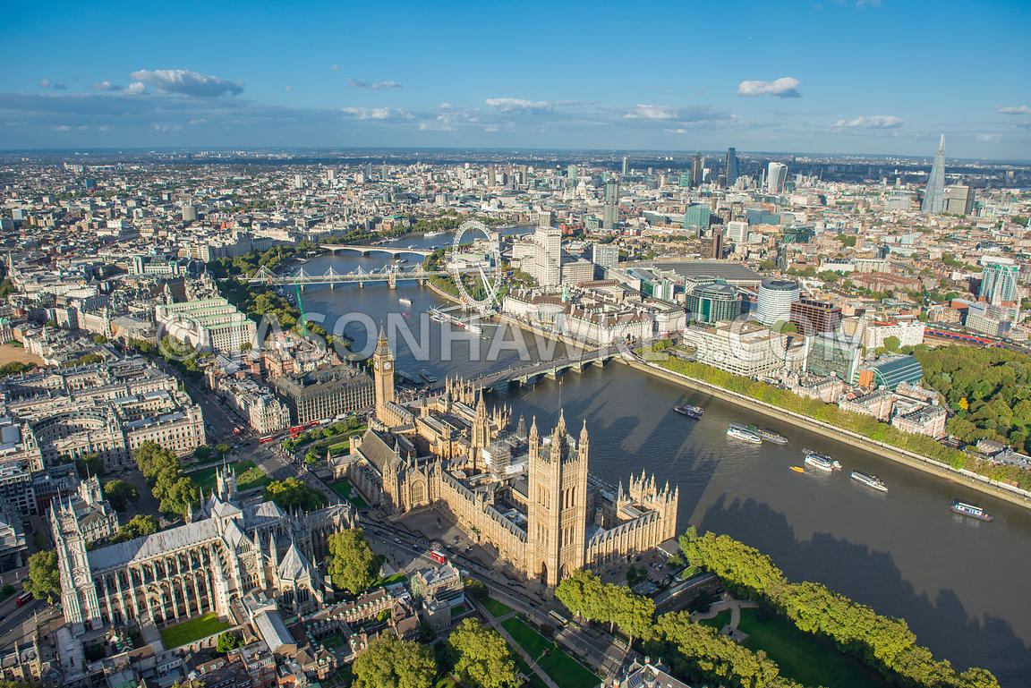 Aerial view of the Palace of Westminster, Whitehall and River Thames, London