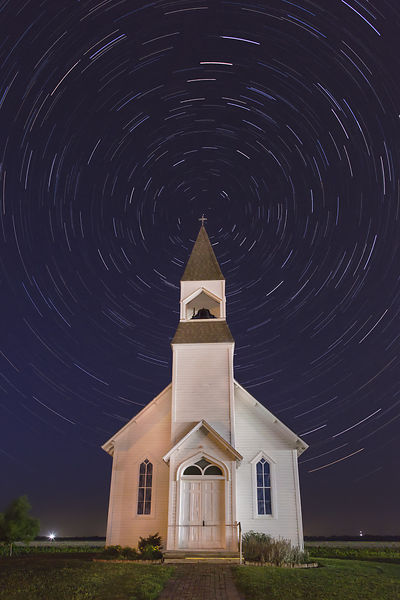 Church and Star Trails