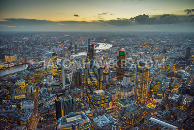 Dusk aerial view of the City of London,