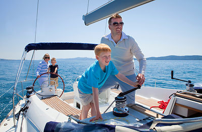 Croatia, Zadar, Family on sailboat