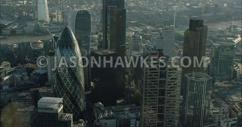 London Aerial Footage City of London Financial skyline