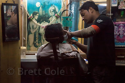 Nighttime at a barbershop in Jodhpur, Rajasthan, India