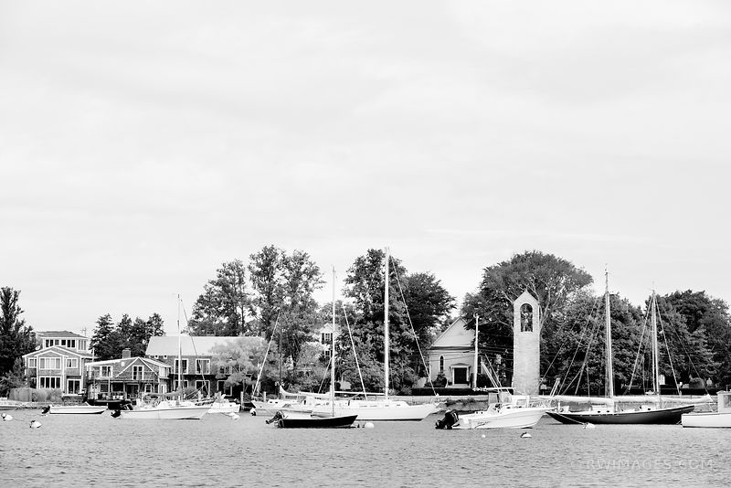 SAILBOATS IN HARBOR WOODS HOLE CAPE COD BLACK AND WHITE
