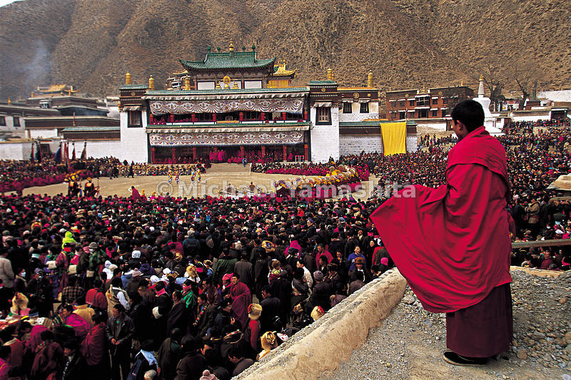 On festival days, the monastery fills with monks, worshippers and tourists to watch the dancing in the center of the large sq...