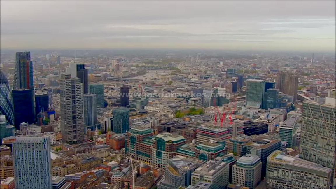 Aerial view of the City and Shoreditch, London