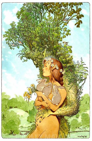 The_Summer_King_and_His_Bride_of_Flowers_Seasons_of_the_Green_Man_Series_colored_inks_Private_Collection_work_by_Charles_Vess...