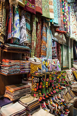 Rugs and fabrics in the Grand Bazaar, Istanbul