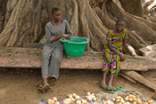 Girls sitting under a kapok tree, selling potato in the market, Elinkine, Casamance, Senegal