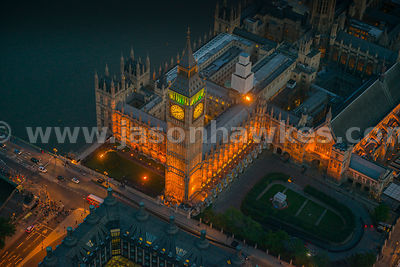 Aerial view of the Houses of Parliament at dusk, Westminster, London