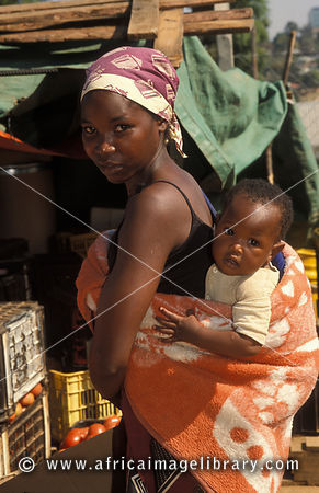woman with baby, Manzini market, Swaziland