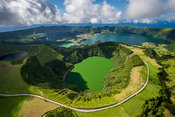 Flying above Lagoa das Sete Cidades