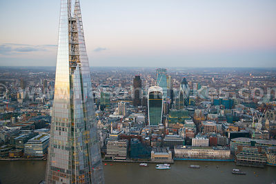 Aerial view of The Shard with City in background, London