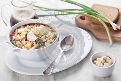 Cold soup with chopped vegetables and meat