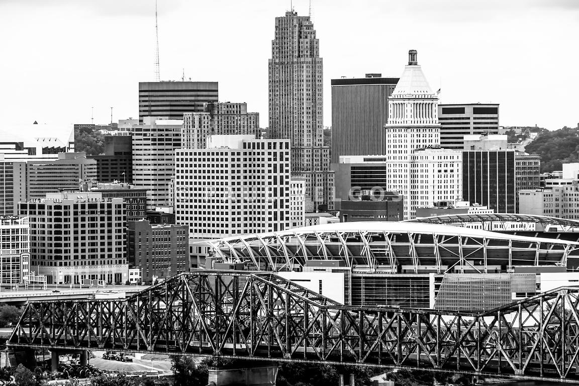 Cincinnati Skyline Black and White Picture