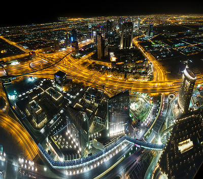 The view at night from 'At the Top', 124th floor of the Burj Khalifa, the world's tallest building at 829.8m at night. Dubai,...