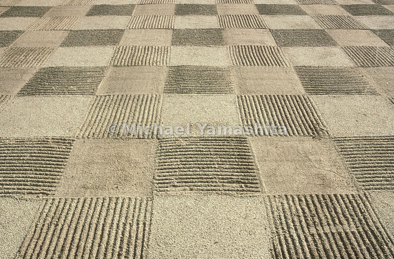 At the temple of Tofukuji in Kyoto a checkerboard pattern of coarse sand imposes an artful symmetry on an ever shifting mediu...
