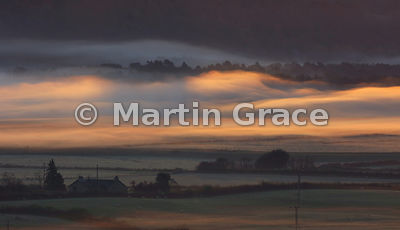 Lyth Valley blanketed by early morning mist, October 25, Cumbria, England