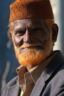 Elderly man with a red beard in Jodhpur, Rajasthan, India