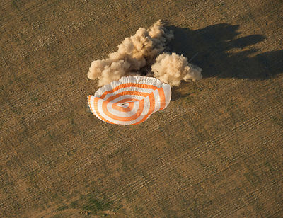 The Soyuz TMA-04M spacecraft is seen as it lands with Expedition 32 Commander Gennady Padalka of Russia,