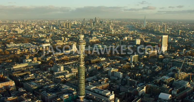 Aerial footage of Bloomsbury and Fitzrovia
