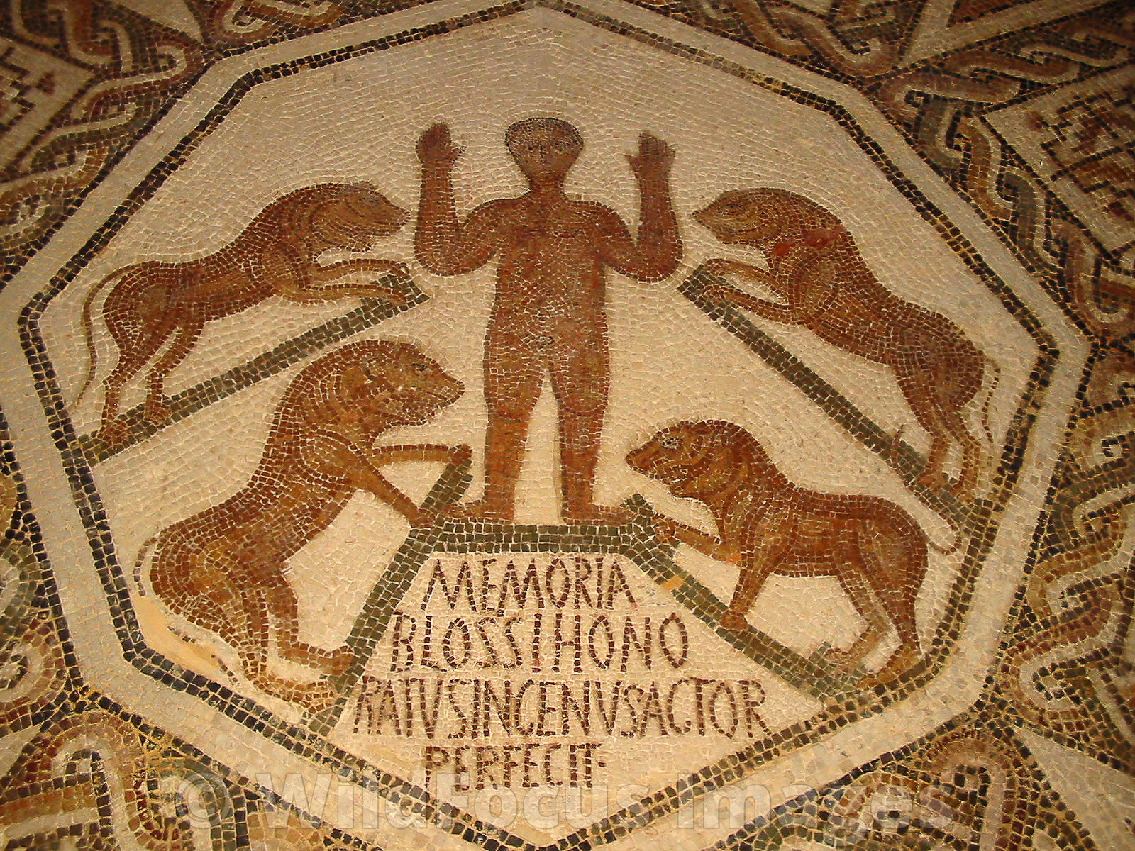 Roman Mosaic depicting Daniel in the Lions Den, Bardo Museum, Tunisia, Landscape