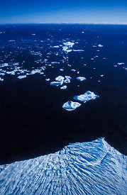 Aerial View of Glacier and Icebergs
