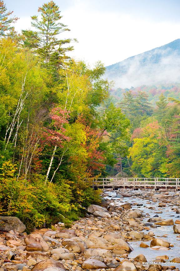 FALL COLORS AUTUMN FOLIAGE BRIDGE MOUNTAIN RIVER KANCAMAGUS HIGHWAY WHITE MOUNTAINS NEW HAMPSHIRE NEW ENGLAND LANDSCAPE COLOR VERTICAL